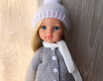 Clothes for Corolle Les Cheries, Paola Reina Doll Hand Knit Hat, Abgora Hat and Scarf - 2 pcs