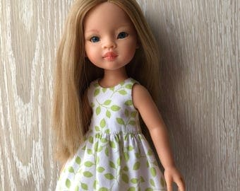 Clothes for Corolle Les Cheries, Paola Reina Doll Dress, Green leaves Doll Dress