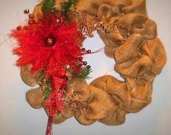 Christmas wreath, Burlap wreath