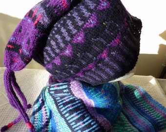 Fair Isle hat, hand knitted.  Wool, navy blue and purple.
