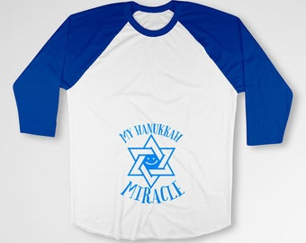 Hanukkah Pregnancy Announcement Maternity Reveal Chanukah T Shirt Star Of David Expecting Mother New Mommy To Be Raglan Sleeves TEP-513