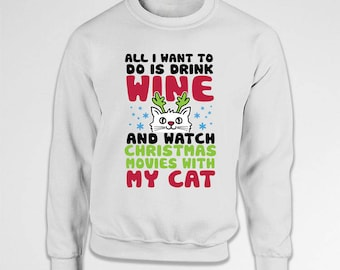 Christmas Gifts For Cat Lovers Wine Clothing Xmas Pullover Holiday Jumper Christmas Hoodie Xmas Present Ideas Holiday Outfit X-Mas TEP-540
