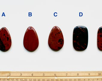 Mahogany obsidian pendant, obsidian natural stone pendant, top drilled, raw black and dark red pendant, cherry color pendant, P0002