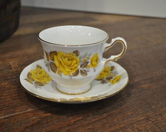 Tea Cup & Saucer - Queen Anne - Yellow Roses and Gold Leaf