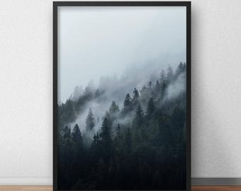 Misty Forest Digital Print I, Fog, Trees, Mist, Mountain Poster, Moody, Alps, Printable Nature Photography, Minimalism, Modern Home Decor