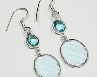 "Sterling Silver Blue Topaz Earrings, Silver Earrings, Blue Topaz Earrings, Blue Topaz,Oval .925 Sterling Silver Earrings 2""x0.6"" (With Hook)"
