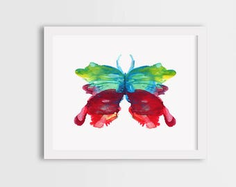Colorful butterfly Watercolor butterfly print, colorful butterfly wall art, butterfly painting, butterfly illustration