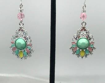Silver Mint Chandelier Earrings. Dangle Earrings. Statement Earrings. Drop Earrings. Pastel Colors. Gift for Her.