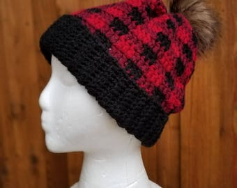 buffalo plaid crochet winter slouchy beanie hat for woman with faux fur pompom
