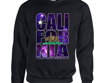 California Bear Galaxy Designed Adult Clothing Unisex Sweatshirt Printed Crew Neck Sweater for Men and Women