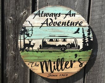 """Custom Camper Sign! vintage style wood, 23.75"""" rnd, put YOUR camper - rv on a custom sign! outdoor, heavy duty! deer,eagle WICKED FOREST"""