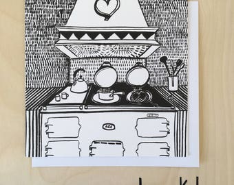 Heart of the Home Blank Greetings Card in Black / Blank Card / Food Lover Card / Notecard / Black and White Card / Aga / Illustrated Card
