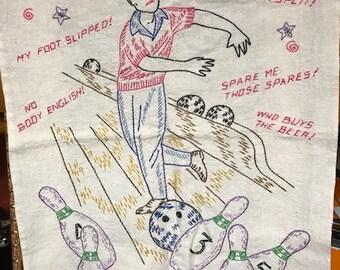 Vintage embroidered bowlers towel