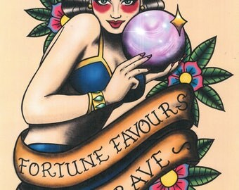 Fortune favours the brave traditional tattoo print neo traditional pin-up girl A4