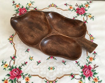 Wooden hors d'oeuvre - Hors d'oeuvre - Vintage hors d'oeuvre - hors d'oeuvre with 3 divisions - wooden hors d'oeuvre with 3 divisions