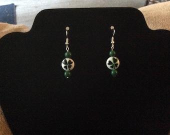 "Handcrafted ""Luck of the Irish"" Shamrock Pierced Earrings in Silver Tone"