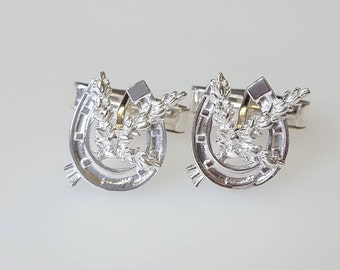 Horseshoe and Lucky Heather cufflinks in .925 Sterling Silver
