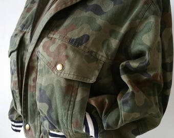 Short Army Jacket-Army jacket-restyled and recycled materials only