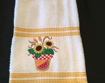 Embroidered Sunflower Dish Towel
