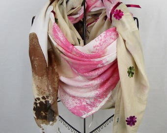 Large square scarf collection 180, large shawl, beige, Brown, flower scarf light scarf