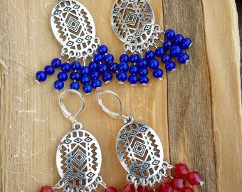 Lever back earrings silver print Mexican ethnic Bohemian vintage red blue vintage bead gift liv free