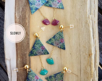 Earring studs brass sequins leaves gold Navy Eggplant turquoise pink Palm bohostyle gift
