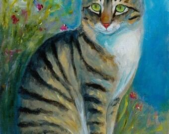 Tabby Cat Original Acrylic Painting