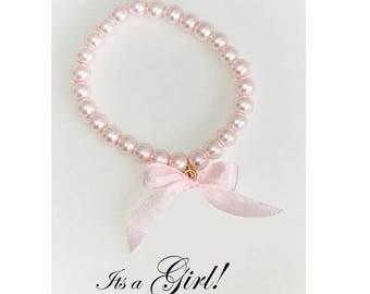 Baby Pink Pearl Bracelet, Girls pink Bracelet, Baby Bracelet, It's a Girl, Baby Shower Jewelry
