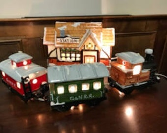 Department 56 retired Snow Village Train Station with Three Cars (Eight Window) 1980's