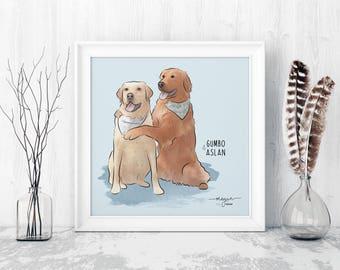 Custom Pet Portrait Artwork, Portrait from Photo, Dog Lover Gift, Dog Mom Gift, Bespoke Pet Memorial, Art Commission, 1st Anniversary