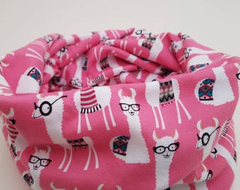 Adorable pink infinity scarf with llamas wearing glasses