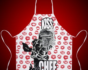 Apron,Funny Apron,Funny Valentine Gift,Chef Apron,Kitchen Apron,Giraffe, Wild Animal,Get some laughs in the kitchen!