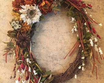 "Large 24"" Grapevine Fall Wreath"