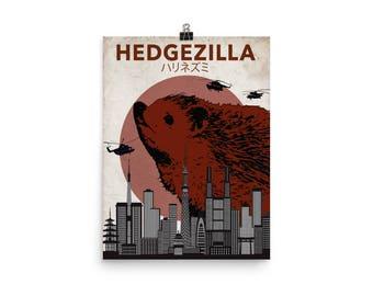 Rare Hedgezilla Movie Poster Cutest Kaiju Protector of Tokyo