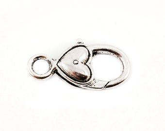 Clasp - silver heart pendent - 27 mm