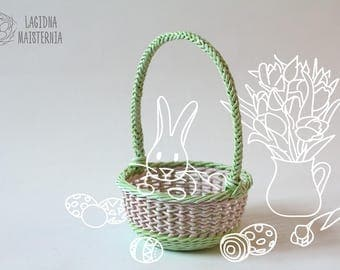 Kids easter basket with handle Yellow green nursery decor Egg hunt basket Easter table decor Pink green wicker basket for storage