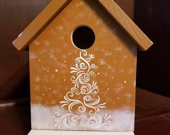 Gingerbread Birdhouse/Decorative Birdhouse/Handmade Birdhouse/Outdoor Birdhouse/Indoor Birdhouse/Wood Birdhouse/Holiday Birdhouse