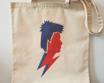 David Bowie - Tote Bag - Man Bag - Shopper Bag - Reusable Bag - Cool Gift - Gifts for Him - Gifts for Her - Ziggy Stardust - Music Icons