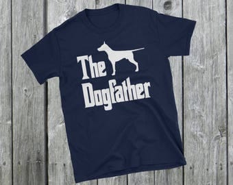 The Dogfather t-shirt, Doberman Dobermann silhouette, funny dog, The Godfather parody, dog lover, dog gift, Short-Sleeve Unisex T-Shirt