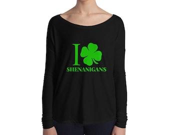 I Love Shenanigans Shirt, Shamrock Shirt, St Patricks Day Shirt, St Paddys Day, Irish, Leprechaun, day drinking, Ladies' Long Sleeve Tee