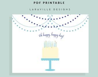 Printable Birthday Card + Gift Tags, Instant Download, PDF Printable, Birthday Set