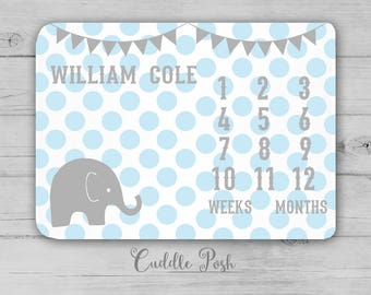 MILESTONE Baby Blanket, ELEPHANT Milestone Blanket, Baby Boy Photography Backdrop, Elephant Nursery Decor, Newborn Boy Shower Gift