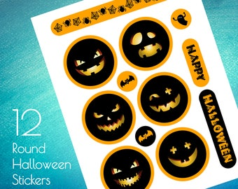 12 Round Halloween Stickers Clipart, PNG, Printable stickers, Transparent background, Instant Download Graphics