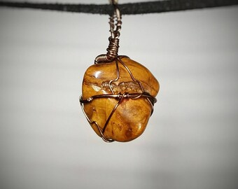 Petrified Wood Pendant - Wire Wrapped Jewelry - Golden Color with Brown Stripes and Swirls - Small Double Sided Necklace - Handmade