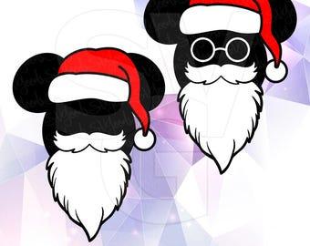Mickey Mouse Santa Hat Beard Glasses Layered SVG DXF EPS Vector Silhouette Cricut Cameo Vinyl Cut Files Digital Mickey Head Ears Disney