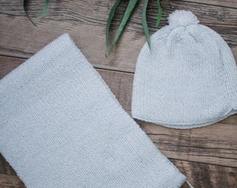 Soft Blue Knit Tassel Scarf and Hat Set   Childrens