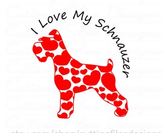 Schnauzer Dog with Hearts SVG Design Cutting File & includes PNG - for Cricut Design Space and Silhouette Studio - Commercial use