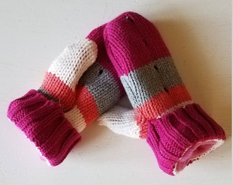 Kid's Striped Mittens