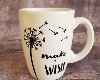 Hand Painted white ceramic cup-gift idea for Dreamers-cup for tea and herbal teas for dreamers-big white mug-Mug
