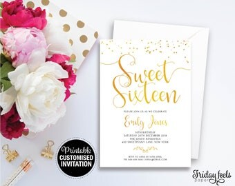 Sweet Sixteen Customized Birthday Invitation, Printable Birthday Invite, Digital Download, Gold Glitter Party Invite
